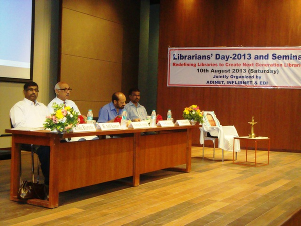 Dias Dignitaries on Librarians' Day 2013 at EDI, Gandhinagar