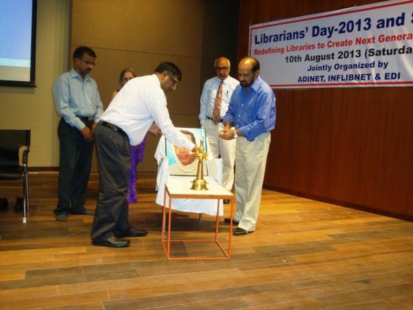 Dr. H. Anil Kumar, Librarian, IIM, Lighting the Ceremonial Lamp at EDI, Gandhinagar