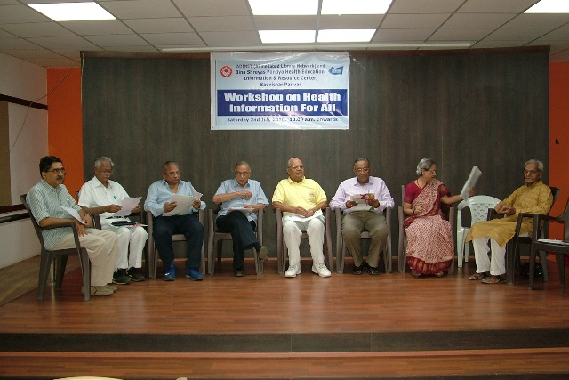 Dignitores on the Dias at the Seminar on Health Information for all held at Sadvichar Parivar